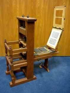 This one-fourth scale replica of the Franklin Press at the Smithsonian is on of the most difficult and painstaking projects undertaken in our workshop. It was used for years in classes that taught the history of printing and books.