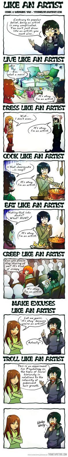 Like an artist.