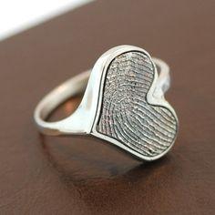 Heart Personalized Fingerprint Sterling Silver Ring.