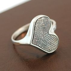 Heart Personalized Fingerprint Sterling Silver Ring.