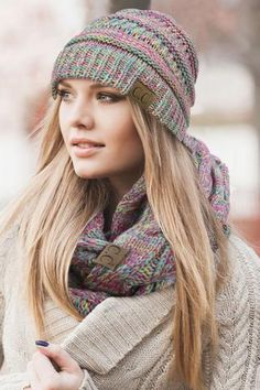 Thick Slouchy Knit Beanie. Keeps you nice and warm during those winter months! at $18.00 https://www.bluechicboutique.com/collections/accessories/products/c-c-knit-multi-color-beanie-1