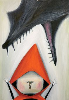 litte red riding hood (by Tsukishima Masami illustration) Loup et le petit chaperon rouge illustration little red riding hood and the wolf attenti al lupo e cappuccetto rosso Rotkäppchen