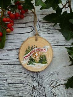 Original Illustration—Handpainted Wooden Ornament by AliceCEades