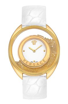 Versace Women's Destiny Precious Analog Display Swiss Quartz Gold Watch >>> Check this awesome product by going to the link at the image. Versace Jewelry, Gold Jewellery, Versace Gold, Bling Bling, Stone Gold, Beautiful Watches, Luxury Watches, Versace Watches, Stainless Steel Bracelet