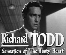 Richard Todd - Todd OBE (11 June 1919 – 3 December 2009) was an Irish-born British stage and film actor and soldier... . Alfred Hitchcock used him in Stage Fright (1950), then he made a film in Hollywood for King Vidor, Lightning Strikes Twice (1951). Neither did particularly well at the box office. He appeared in three movies for the Disney Corporation, The Story of Robin Hood and His Merrie Men (1952), The Sword and the Rose (1953) and Rob Roy, the Highland Rogue (1953). Richard Todd, Ethel Waters, Hattie Mcdaniel, Turner Classic Movies, Humphrey Bogart, Joan Crawford, Irish Men, D Day, Alfred Hitchcock