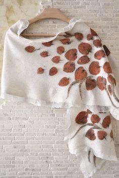 Silk Felt Scarf Eco Printed with Floral Pattern Pure Silk Nuno Felting Ladies Scarf Accessory Handmade Unique Designers Print Silk Shawl by ShellenD on Etsy