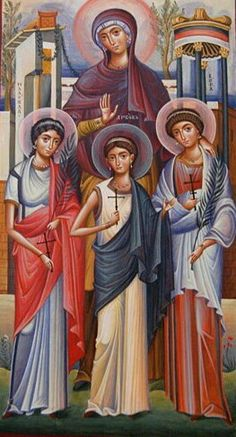 Saint Sophia and Her Three Daughters: Faith, Hope, and Love icon. Byzantine Icons, Byzantine Art, Religious Icons, Religious Art, Christian Artwork, Art Icon, Catholic Saints, Orthodox Icons, Mother Mary