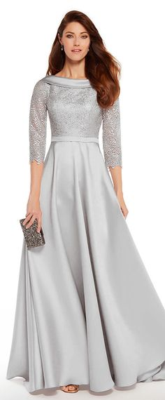 Gorgeous Lace & Satin Bateau Neckline 3/4 Length Sleeves A-line Mother Of The Bride Dresses