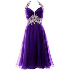 MACloth Women Halter Lace Chiffon Short Prom Dress Formal Evening Ball... ($109)…