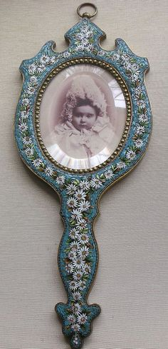 Antiques Capable Vintage Italian Micro Mosaic Oval Easel Back Footed ~picture Frame~signed Italy Picture Frames