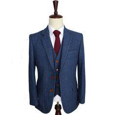 Wool Blue Herringbone Retro gentleman style custom made