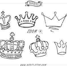 Dibujo de coronas Doodle mano dibujado Vector, príncipe de corona Digital…