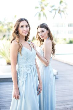 More stunning mix and match soft lace bridesmaids in soft pastel blue by Tania Olsen Designs find them at www.taniaolsen.com.au