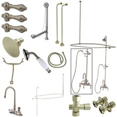 Kingston Brass Vintage High Rise Gooseneck Clawfoot Tub and Shower Package with Metal Lever Handles, Satin Nickel Clawfoot Tub Shower, Bathtub, Freestanding Tub Filler, Vintage Tub, Kingston Brass, Shower Enclosure, Brushed Nickel, Polished Chrome, Solid Brass