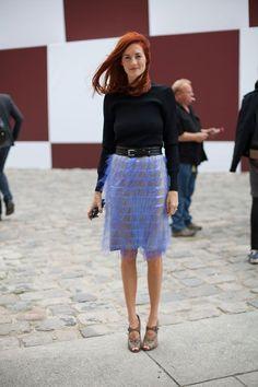 statement skirt + crewneck