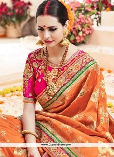 Catchy Orange Art Silk Traditional Saree