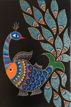 Gloss varnished acrylic painting on 8 inch canvas. This is a fusion of madhubani and dot art. Ready to hang wall art. Gloss varnished acrylic painting on 8 inch canvas. This is a fusion of madhubani and dot art. Ready to hang wall art. Items similar to Yi Madhubani Paintings Peacock, Kalamkari Painting, Madhubani Art, Indian Art Paintings, Modern Art Paintings, Gond Painting, Dot Art Painting, Mandala Painting, Aboriginal Dot Painting