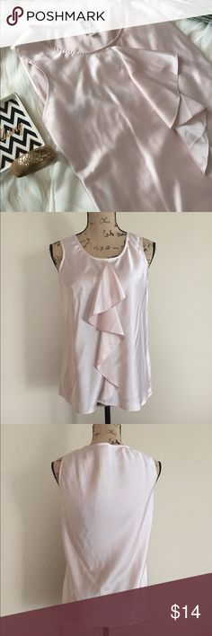 """Anne Klein ruffle front tank Pretty petal pink tank from Anne Klein is silky smooth and has a flirty ruffle down the front. Size S. Excellent condition. Bust measures 18 1/2"""", length 24"""". Anne Klein Tops Blouses"""