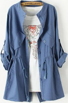 Shop Blue Long Sleeve Drawstring Pockets Trench Coat online. Sheinside offers Blue Long Sleeve Drawstring Pockets Trench Coat & more to fit your fashionable needs. Free Shipping Worldwide!