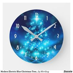Modern Electric Blue Christmas Tree with Lights Round Clock Retro Christmas Decorations, Blue Christmas Decor, Light Decorations, Christmas Tree, Blurry Lights, Electric Blue, Christmas Card Holders, Modern, Wall Clocks
