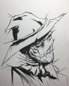 And the finished piece--Scarecrow. Kuretake Brushpen on multimedia board. Scarecrow Tattoo, Scarecrow Drawing, Scarecrow Batman, Scary Drawings, Halloween Drawings, Batman Drawing, Batman Art, Deviantart Drawings, Jonathan Crane