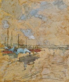 Eliseo Meifrén Roig. Puerto. Lápiz y acuarela sobre papel. Firmado. 13,5 x 22 cm. Exposición Valencia, p. 181.