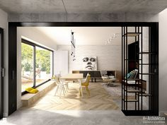 Widok na salon z holu wejściowego - zdjęcie od H+ Architektura - Salon - Styl Industrialny - H+ Architektura