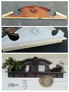 DIY Furniture Makeover Ideas: Genius Ways to Repurpose Old Furniture With Lots of Tutorials DIY Useful Coat Rack Shelf Repurposed from Hutch Top.DIY Useful Coat Rack Shelf Repurposed from Hutch Top. Refurbished Furniture, Repurposed Furniture, Diy Furniture Repurpose, Refurbished Hutch, Upcycled Furniture Before And After, Repurposed China Cabinet, Dresser Repurposed, Salvaged Decor, Repurposed Wood