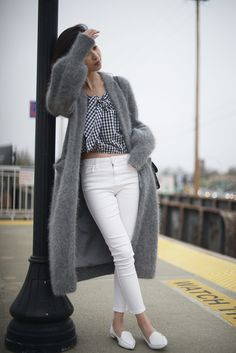 Grey Cardigan Coat with Gingham and White Pants - Off The Grid | FOREVERVANNY.COM