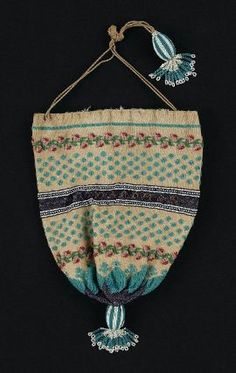 Knitted and beaded round drawstring bag. Probably English, early 19th century - in the Museum of Fine Arts Boston costume collection.
