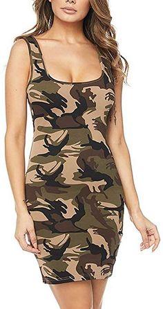 2b81e0eaef54  SOMTHRON Women s Square Neck Petite Length Fitted Mini Dress Sleeveless  Bodycon Camo Tank Dresses