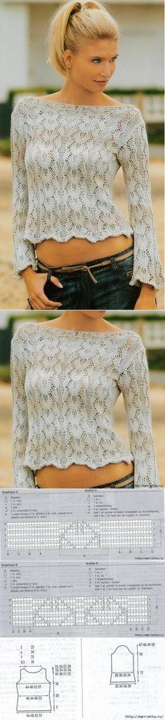 Летний ажурный пуловер спицами...♥ Deniz ♥
