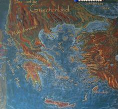 Waldorf ~ 5th grade ~ Ancient History ~ Greece ~ Map ~ chalkboard drawing