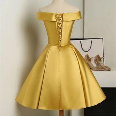 Beautiful Gold Short Satin Off Shoulder Homecoming Dress, Simple Knee Length Teen Formal Dress, Sati on Luulla