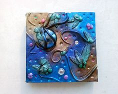 Polymer clay canvas / floral canvas / home decor / nature / garden / wall hanging / small canvas / colourful / mixed media
