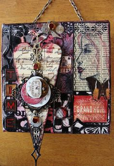 Original Mixed Media CollageA Bit of Steampunk by dianeskeepsakes Mixed Media Artwork, Mixed Media Painting, Mixed Media Collage, Mixed Media Canvas, Collage Art, Mix Media, Altered Books, Altered Art, Decoupage