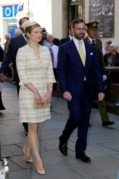 Hereditary Grand Duke Guillaume and Hereditary Grand Duchess Stéphanie of Luxembourg attend the Pontifical Mass for final procession at Notre-Dame Cathedral in Luxembourg, on May 21, 2017, as part of the Catholic Octave celebrations.