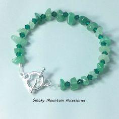 Aventurine Gemstone Chip Bracelet featuring Emerald Swarovski Bicones | SmokyMountainAccessories - Jewelry on ArtFire