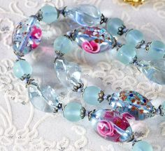 Vintage Beaded Necklace, Frosted Sky Blue, Venetian Lampwork Art Glass, Pink Roses, Speckles, 1940s, Romantic Wedding Bridal Jewelry by AVintageJewelryChest, $54.00