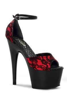 Pleaser Shoes Red Black Satin Lace Platform High Heels | AMICLUBWEAR saved by #ShoppingIS