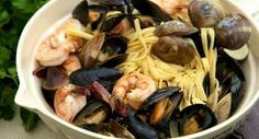 Mussels and Clams Over Linguini
