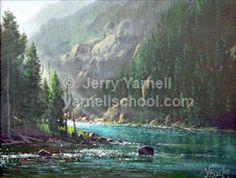 """Turquoise River:18"""" x 24"""" stretched canvas (horizontal) This is true Rocky Mountain splendor. A great lesson for learning how to create depth using the gradated value system plus how to paint running water, unique rock formations, pine trees, and mist. You will love this one – and for those of you who are more of an adventurist – you can add an animal like a deer or a bear."""