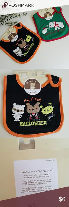 Carter's Water Resistant Bibs Very cute Carter's Water Resistant Bibs. Halloween and Christmas. Brand new with tag. No stains or damages. Carter's Accessories Bibs