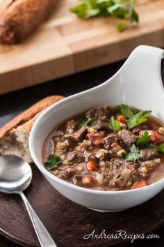 Slow Cooker Beef Barley Soup, one of my favorite meals for a cool evening. Great with crusty bread for dipping.