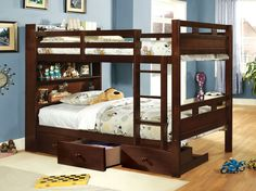 Fairfield CM-BK459EX Bookcase Twin over Twin Bunk Bed with Drawers