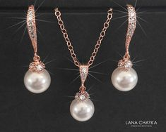 Rose Gold Bridal Jewelry Set, White Pearl Necklace&Earrings Set, Swarovski 8mm Pearl Rose Gold Set Pearl Drop Bridal Set Wedding Jewelry Set Rose Gold Bridal Jewelry, Wedding Jewelry Sets, Pearl Bridal Earrings, Gold Jewelry, Prom Jewelry, Pearl Jewelry, Pendant Jewelry, Jewellery, White Pearl Necklace