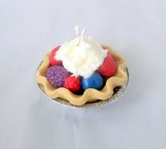 "Berries & Cream mini pie candle, 3"" pie, decorative candles, scented candles, dessert candle, bakery candle, berry candle"