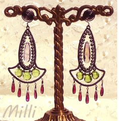 Long Silver Wire Wrapped Earrings with Rhodolite by MaisonMilli, $95.00