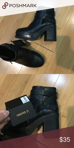 Black Booties Double Wrap Super cute booties and new with tag Forever 21 Shoes Ankle Boots & Booties