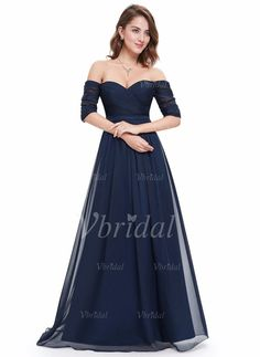 Prom Dresses - $150.54 - A-Line/Princess Off-the-Shoulder Floor-Length Chiffon Prom Dress With Ruffle (0185098942)